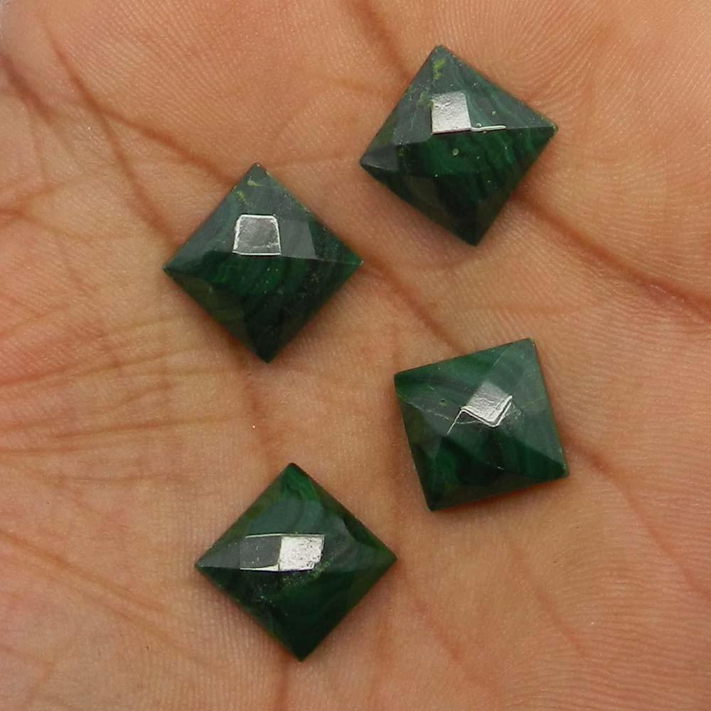 Natural Malachite 12x12mm Square Checker Cut 10.75 Cts