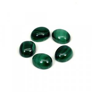 Natural Malachite Oval Cabochon 10x8mm 5 Pcs Lot 19.75 Cts Loose Gemstone
