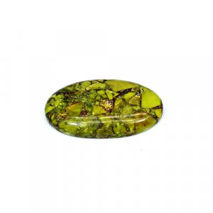 Natural Mohave Green Copper Turquoise 32x19mm Oval Cabochon 23 Cts Loose Gemstone