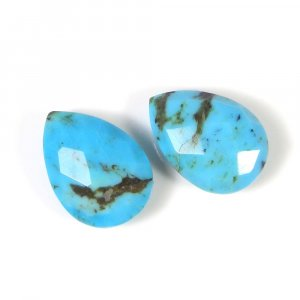 Natural Mohave Turquoise 14x10 Pear Briolette Cut 3.95 Cts