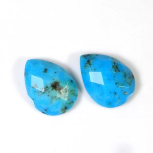 Natural Mohave Turquoise 16x12mm Pear Checker Cut 6.90 Cts