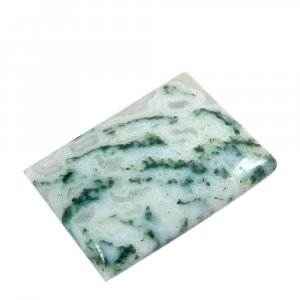Natural Moss Agate 27x19mm Rectangle Cabochon 22.75 Cts