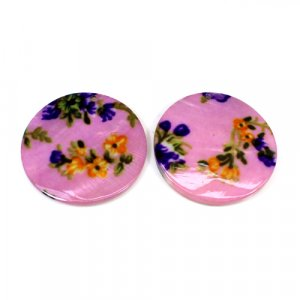 Natural Mother Of Pearl Gemstone Colorful Enamel 1 Pair Gemstone For Earring 42 mm