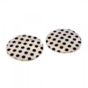 Natural Mother Of Pearl Gemstone Round Black & Grey Combination Enamel Pairs 42 mm For Earrings