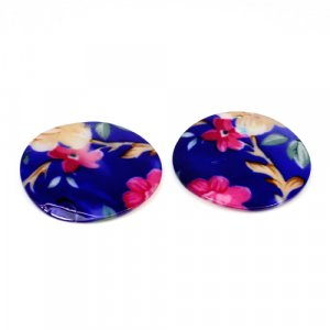 Natural Mother Of Pearl Gemstone Round Blue & Pink Combination Enamel Pairs 42 mm For Earrings