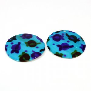 Natural Mother Of Pearl Gemstone Round Colorful Blue Enamel Pairs 42 mm For Earrings 46.75 Cts