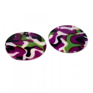 Natural Mother Of Pearl Gemstone Round Colorful Enamel Pairs 42 mm For Earrings