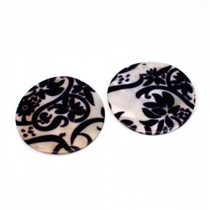 Natural Mother Of Pearl Gemstone Round Colorful Enamel Pairs 42 mm For Earrings 53 Cts
