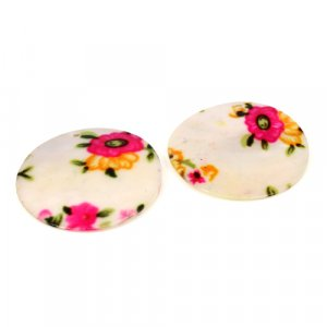 Natural Mother Of Pearl Gemstone Round Colorful Enamel Pairs 42 mm For Earrings 55.95 Cts