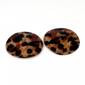 Natural Mother Of Pearl Gemstone Round Colorful Enamel Pairs 42 mm For Earrings 56 Cts