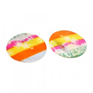 Natural Mother Of Pearl Gemstone Round Colorful Enamel Pairs 42 mm For Earrings 56.5 Cts