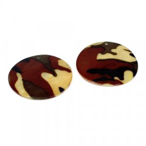 Natural Mother Of Pearl Gemstone Round Colorful Enamel Pairs 42 mm For Earrings 58.5 Cts