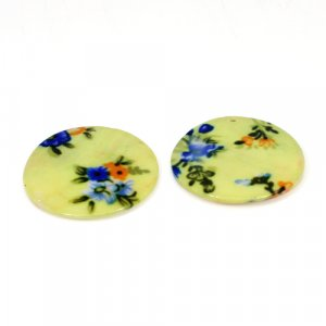 Natural Mother Of Pearl Gemstone Round Colorful Enamel Pairs 42 mm For Earrings 67.75 Cts