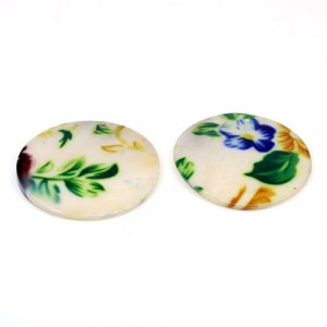 Natural Mother Of Pearl Gemstone Round Colorful Enamel Pairs 42 mm For Earrings 68.60 Cts