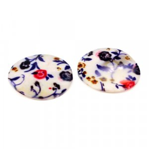 Natural Mother Of Pearl Gemstone Round Colorful Enamel Pairs 42 mm For Earrings 72.40 Cts