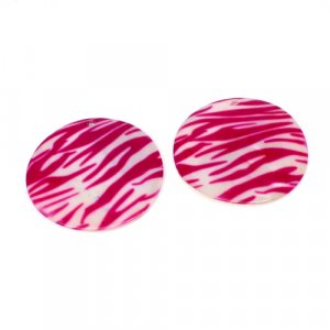 Natural Mother Of Pearl Gemstone Round White & Pink Combination Enamel Pairs 42 mm For Earrings