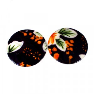 Natural Mother Of Pearl Round Gemstone Colorful Black & Orange Enamel 1 Pair Gemstone For Earring 42 mm 58.25 Cts