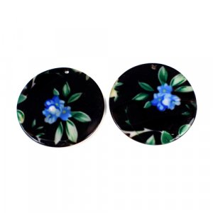 Natural Mother Of Pearl Round Gemstone Colorful Black Enamel 1 Pair Gemstone For Earring 42 mm 62.50 Cts