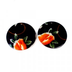 Natural Mother Of Pearl Round Gemstone Colorful Black Enamel 1 Pair Gemstone For Earring 42 mm 71.35 Cts