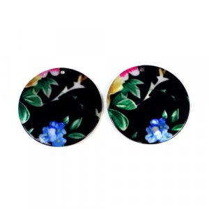 Natural Mother Of Pearl Round Gemstone Colorful Enamel 1 Pair Gemstone For Earring 42 mm 53.40 Cts