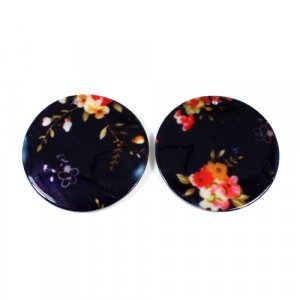 Natural Mother Of Pearl Round Gemstone Colorful Enamel 1 Pair Gemstone For Earring 42 mm 59.35 Cts