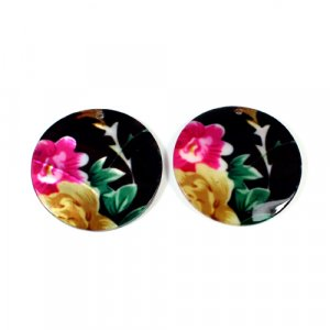 Natural Mother Of Pearl Round Gemstone Colorful Enamel 1 Pair Gemstone For Earring 42 mm 66.15 Cts