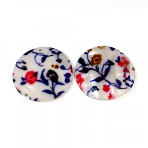 Natural Mother Of Pearl Round Gemstone Colorful Enamel 1 Pair Gemstone For Earring 42 mm 69.10 Cts