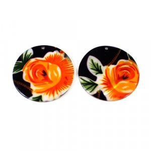 Natural Mother Of Pearl Round Gemstone Colorful Enamel 1 Pair Gemstone For Earring 42 mm 78.35 Cts