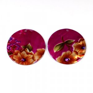 Natural Mother Of Pearl Round Gemstone Colorful Pink Enamel 1 Pair Gemstone For Earring 42 mm 57.30 Cts