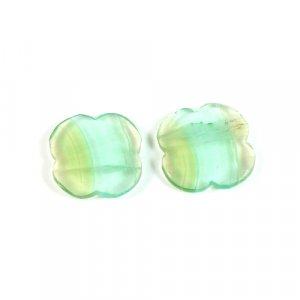 Natural Multi Fluorite Gemstone 1 Pair 14.5x14.5mm Clover Loose Gemstone