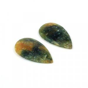 Natural Multi Sapphire Pear Checker Cut 49.30 Cts 31x18mm 1 Pair Loose Gemstone