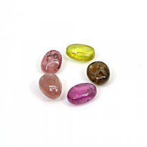 Natural Multi Tourmaline 7x5mm Fancy Smooth Cabochon 6 Cts 5 Pcs Lot Loose Gemstone