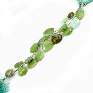 Natural Peruvian Blue Opal 12-22mm Heart Briolette Cut Beads 7.5 Inch Strand