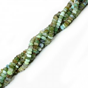 Natural Peruvian Blue Opal 6-8mm Roundel Faceted Beads 9 Inch Strand