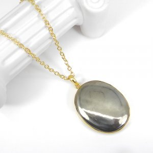 Natural Pyrite 18K Gold Plated Plain Setting Wholesale Pendant With Chain