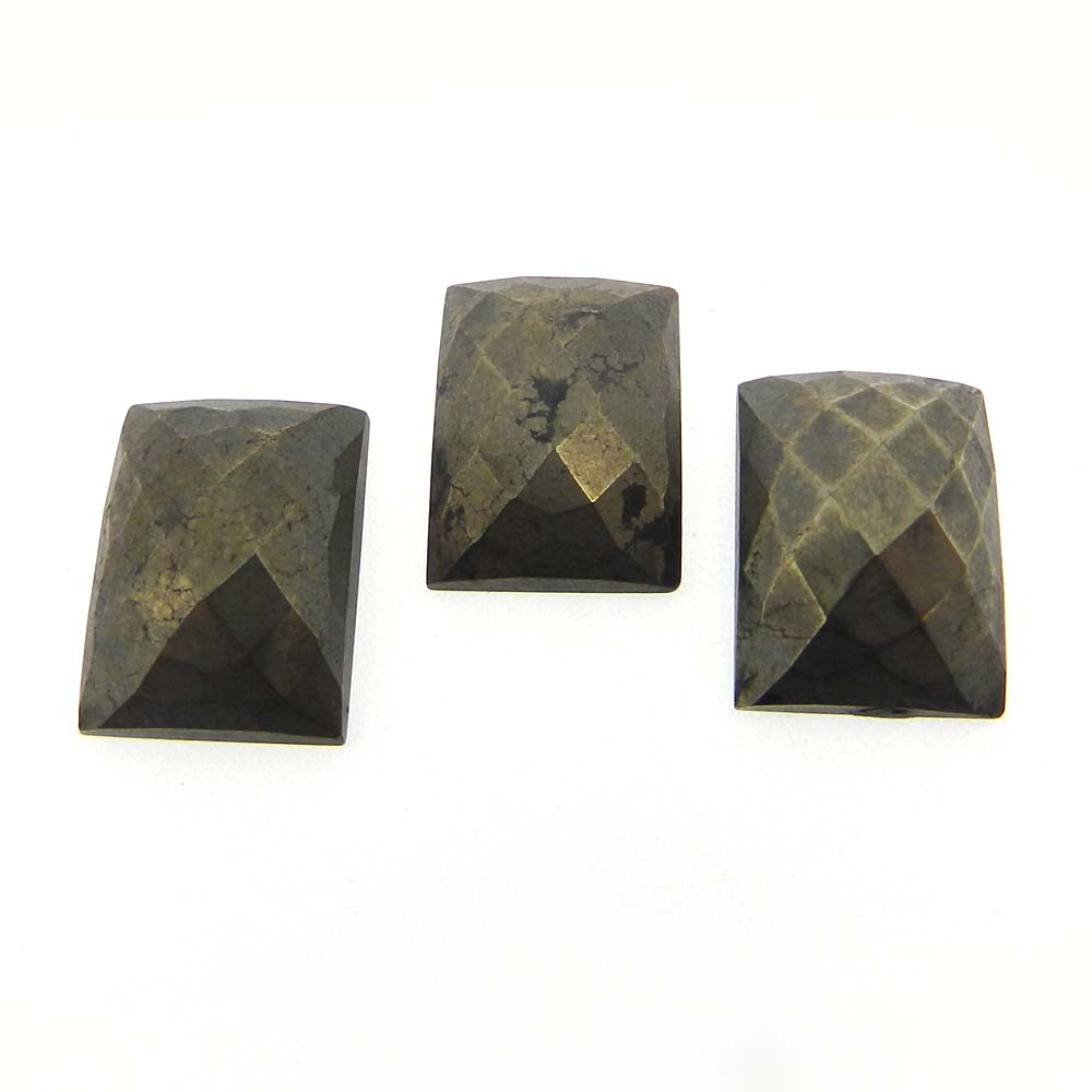 Natural Pyrite 18x13mm Rectangle Checker Cut 22.3 Cts