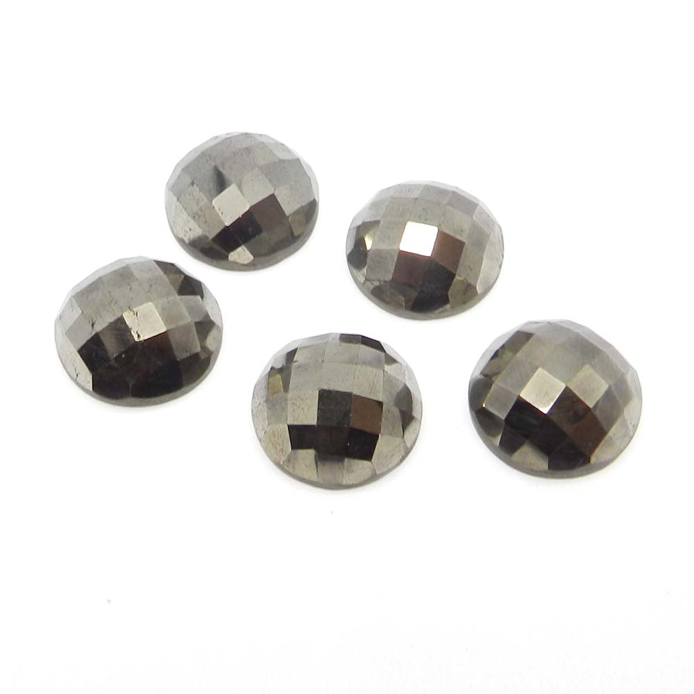 Natural Pyrite Gold 16mm Round Checker Cut Cab 15 Cts