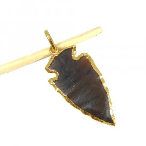 Natural Red Agate Electro Plated Cross Arrowhead Brass Pendant