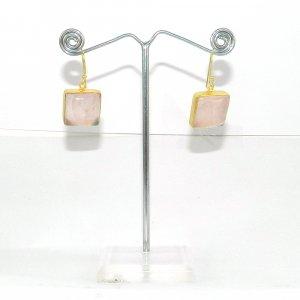 Natural Rose Quartz 18k Gold plated Bezel Earring