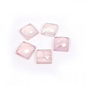 Natural Rose Quartz Square Checker Cut 5 Pcs Lot 8x8mm 13 Cts Loose Gemstone