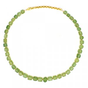 Natural Serpentine Geometric Beads Brass Gold Plated Necklace 16 Inch