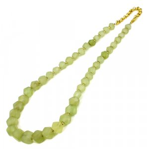 Natural Serpentine Geometric Beads Necklace Brass Gold Plated Necklace 18 Inch 200.65 Cts 10x8mm, 6x6mm