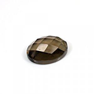 Natural Smoky Quartz 12.80 Cts Oval Checker Cut 18x13mm Loose Gemstone