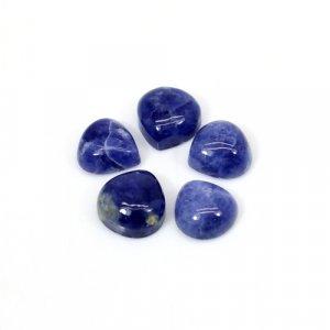 Natural Sodalite Heart Cabochon 5 Pcs Lot 8x8mm 10 Cts Loose Gemstone