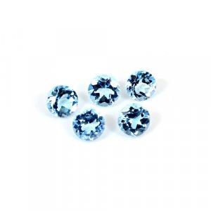 Natural Swiss Blue Topaz 2 Cts Round Cut 4mm 5 Pcs Lot Loose Gemstone