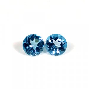 Natural Swiss Blue Topaz Gemstone Round Faceted 5mm 1.05 Cts 1 Pair Loose Gemstone
