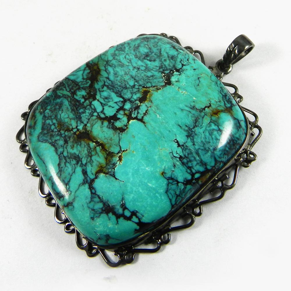 Natural Tibetan Turquoise 44mm Ruthenium Pendant