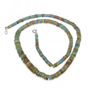 Natural Tibetan Turquoise Tube 4-7.5mm 16 inch 925 Sterling Silver Beads Necklace