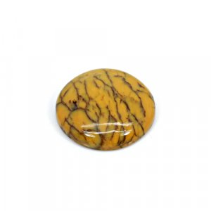 Natural Yellow Dendritic Opal 20mm Round Cabochon 12.65 Cts Loose Gemstone
