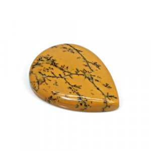 Natural Yellow Dendritic Opal 34x25mm Pear Cabochon 32.05 Cts Loose Gemstone